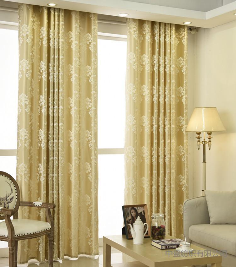 Las nuevas cortinas de tipo para la sala de estar de la sala de estar directamente jacquard de seda de oro de alta precisión, cortina de ventana de floración completa