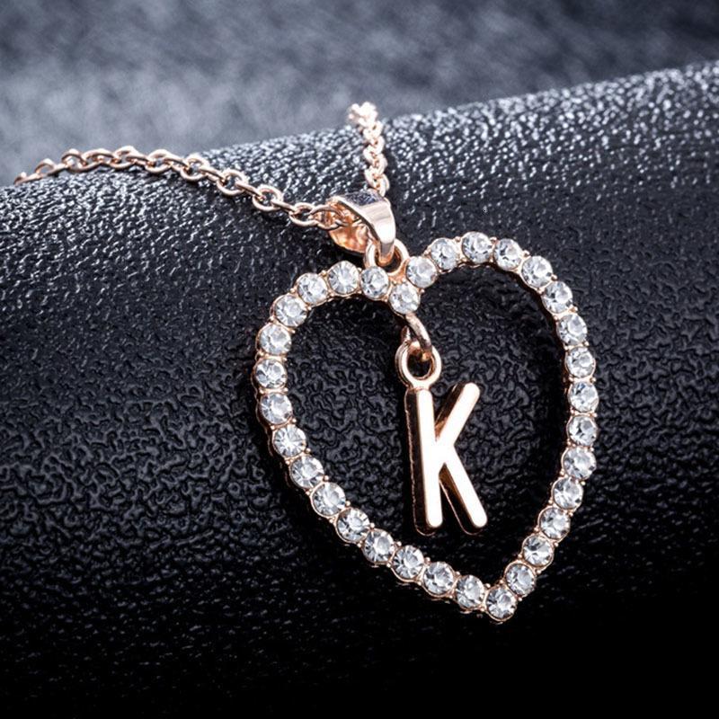Erstes Herz -z -Z-Kristall-englische Halskette Brief Anhänger Goldkette Modeschmuck für Frauen Geschenk Will und Sandy DRO