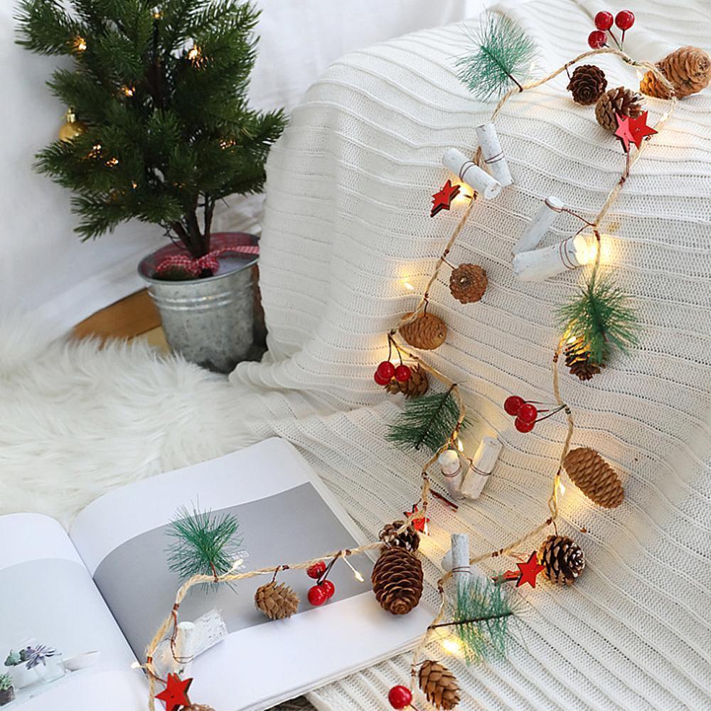 2M 20LED конус сосновые медрые проволоки светодиодные светильники рождественские светильники батареи гирлянда рождественские украшения вечеринка свадьба домашнее декор T200909