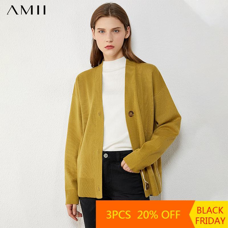 AMII Minimalisme Automne Hiver Cardigans pour Femmes Mode Solide Vneck Femme Cardigan Femme Sweater Femme 12040564 Z1123