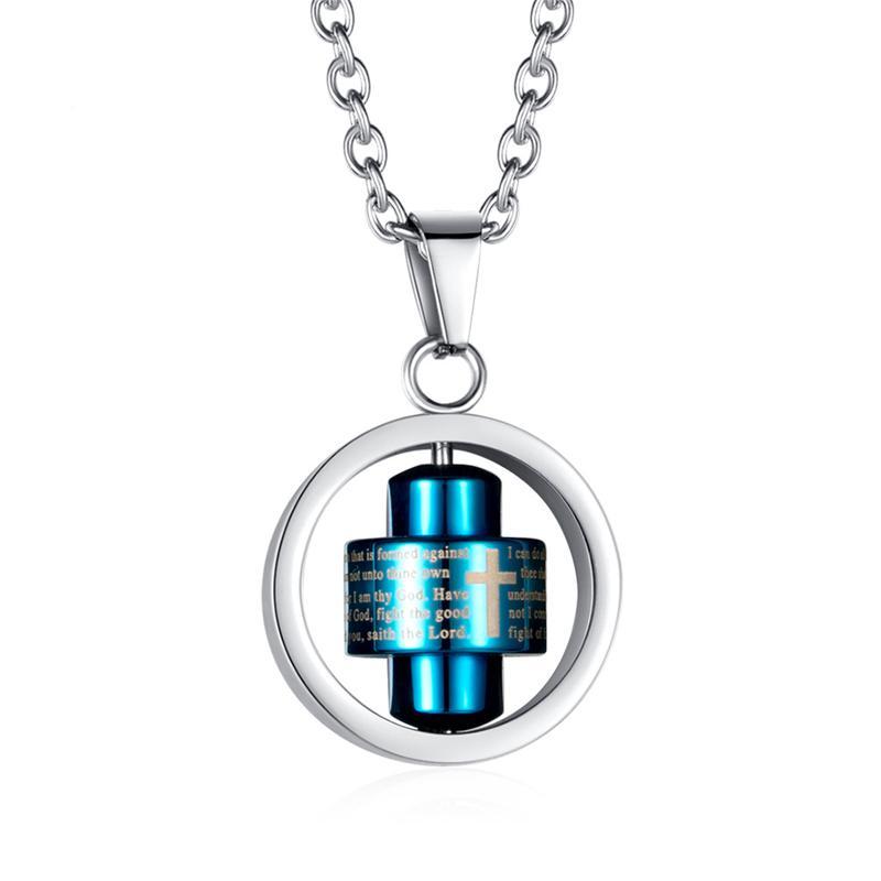 Moda 316L Collares de la cadena de acero inoxidable para las mujeres al por mayor al por mayor color azul biblia cruz spinner colgante joyería regalo Collier Q1209