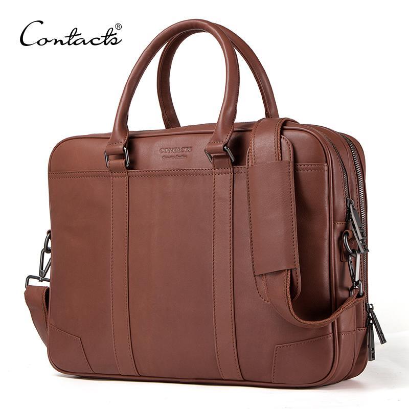 Contact's Marke männer Aktentaschen Echtes Leder Männer Messenger Bags Neue Mode Männliche Umhängetaschen Laptoptasche Große Freizeit Handtasche