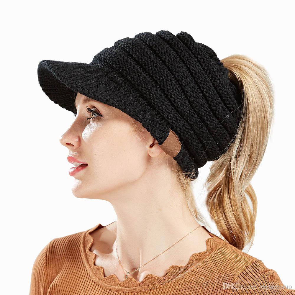 Fabrika Doğrudan Satış Ünlü Örme Şapka Yeni Sonbahar Kış kadın Horsetail Şapka Çok Renkler Sequed Cap Seçin