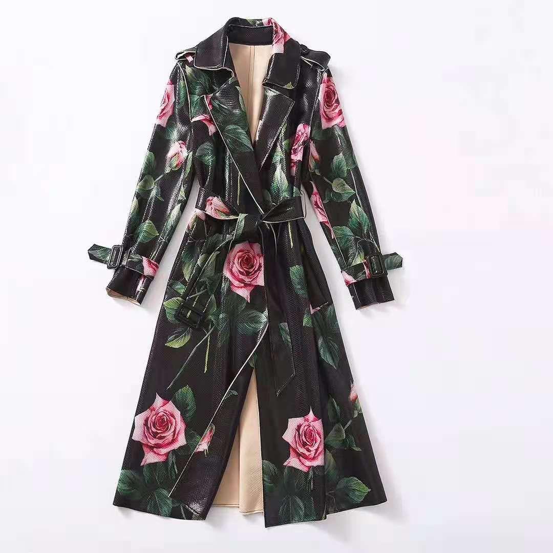 유럽과 미국 여성의 착용 2020 겨울 새로운 스타일의 긴팔 정장 칼라 레이스 업 패션 로즈 프린트 스웨이드 트렌치 코트