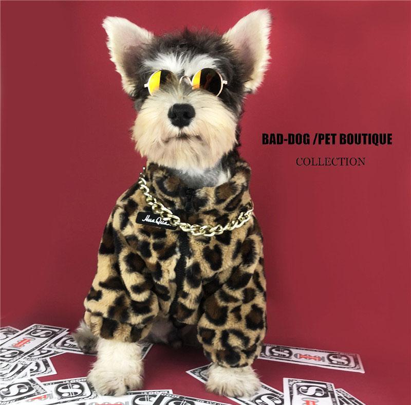 Casacos de leopardo de pelúcia Teddy Schnauzer Pomeranian Cachorros Casacos Ao Ar Livre Viagem Caminhada Cão Pet Dress Up deve Roupa