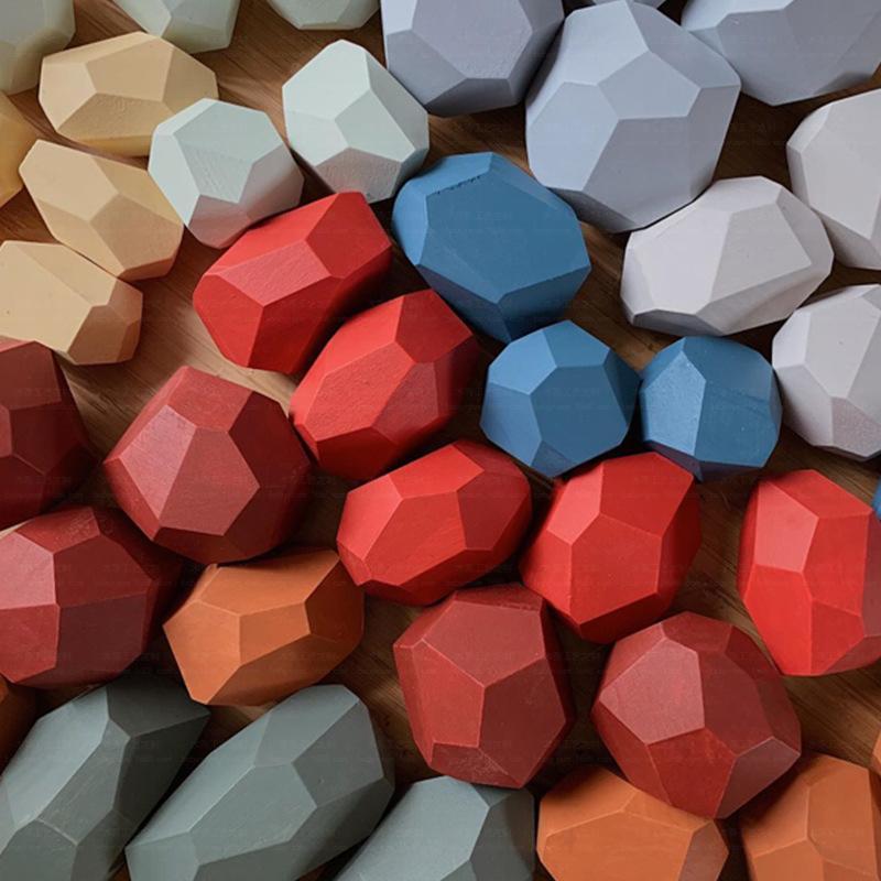 Montessori simulation en bois de couleur pierre de couleur jouet éducatif ornements enfants empiler des jouets en pierre