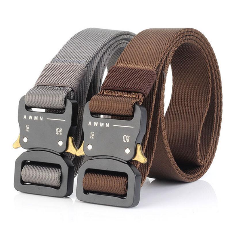 Cinturón para hombre Cinturón Unisex Equipo Unisex Cinturón Táctico Insertar Metal Hebilla Nylon Forks Best Calidad Correa