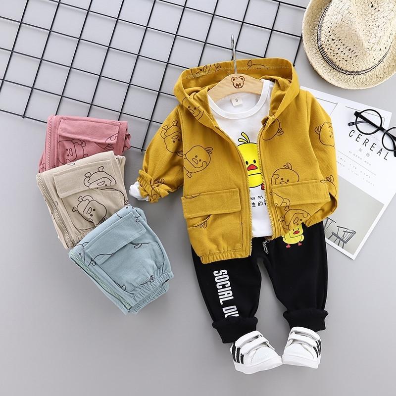 0-4 anni High Quality Boy Boy Abbigliamento Set New Autunno Sport Attivo Fumetto Capretto Cazzo Bambini Bambini Abbigliamento Cappotto + T-shirt + Pant Y200829