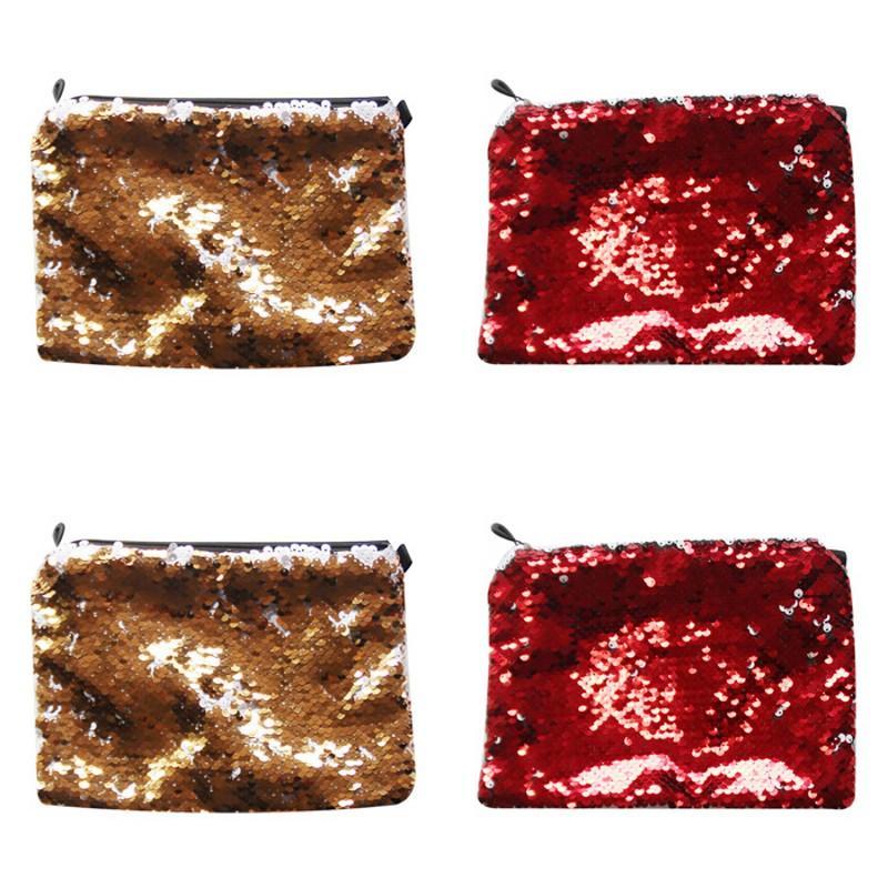 23*16CM Sublimation Blank Makeup Bags Lady Portable Pure Color Tto Mermaid Sequins Fashion Pencil Case 5 5yj J2