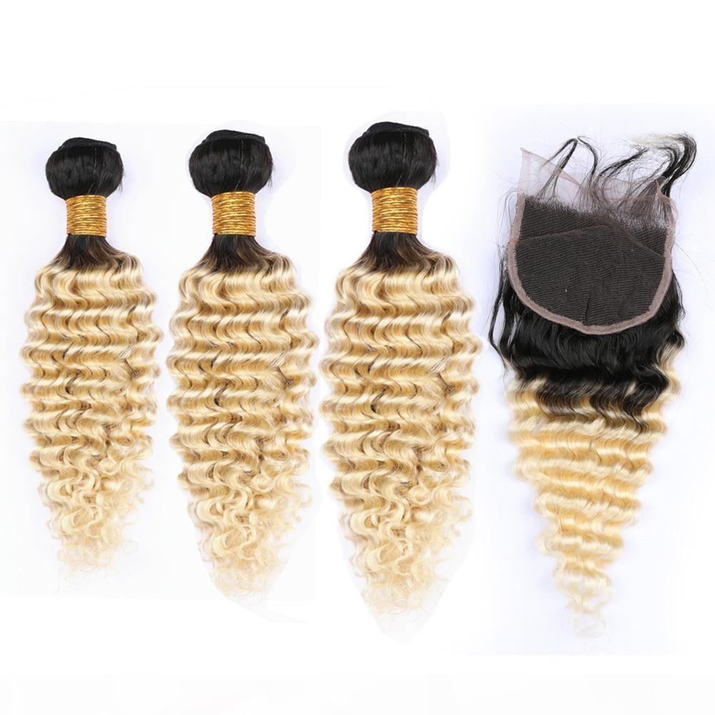 # 1b 613 блондинка омбре малазийцы человеческие волосы волосы глубокая волна волнистые 3 фунда с верхним закрытием ombre блондинки 4x4 кружевной передней крышки с плетенами