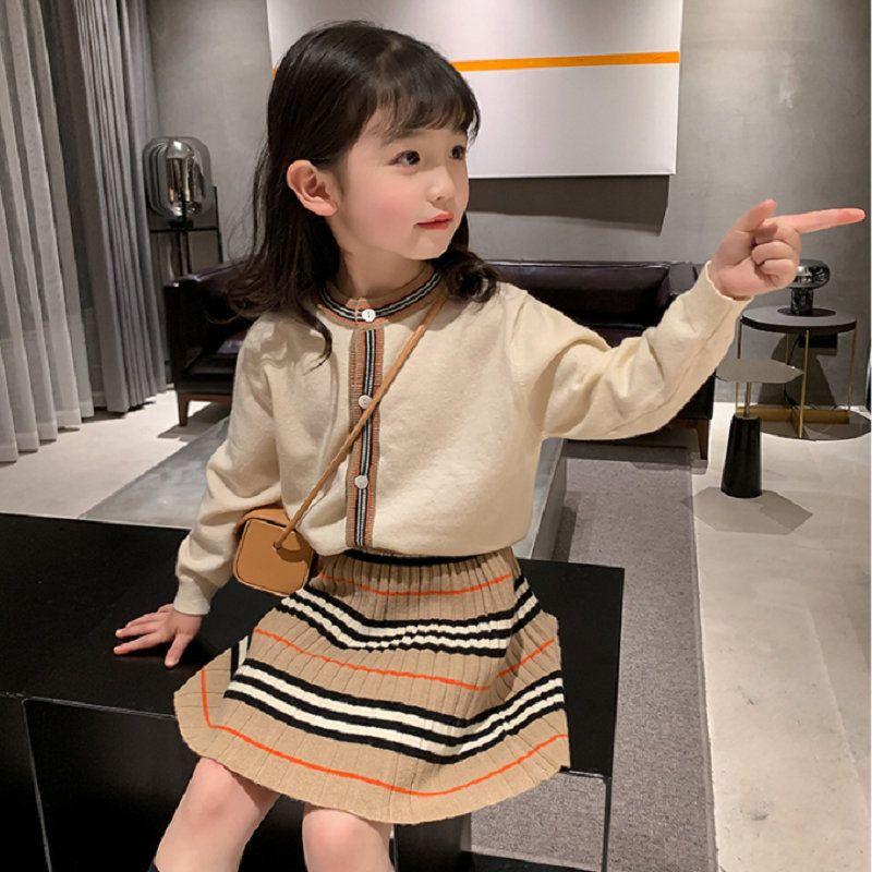 Chegada nova outono meninas roupas de malha 2 peças top + saia terno crianças roupas conjuntos de crianças 20126