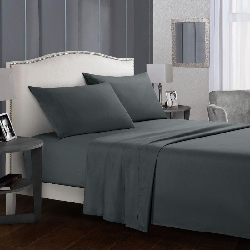 2020 New Bedding Set Brief Bed Linens Flat Sheet+Fitted Sheet+case Queen/ King Size Gray Soft comfortable white Bed set