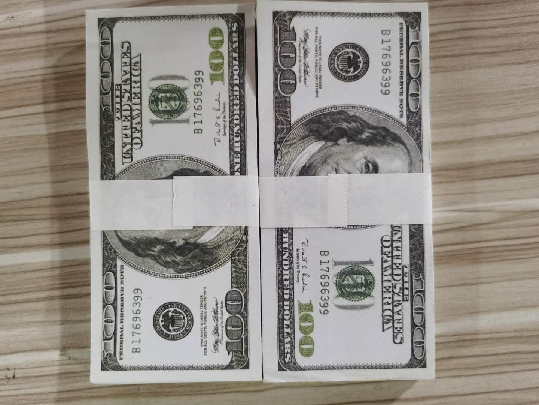US Dollar Wholesale Realistic Pretend Money Paper 20/ 50/ 100 Dollar Copy Banknote Prop Money 100pcs/ pack