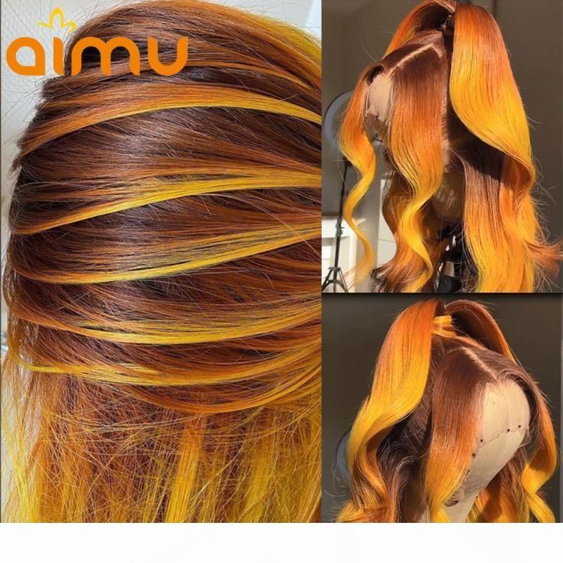 Выделение имбиря 13x6 закрытие кружева передние парики OMBRE оранжевый HD кружевные фронтальные волосы волосы парики предварительно сорванные волосы для женщин