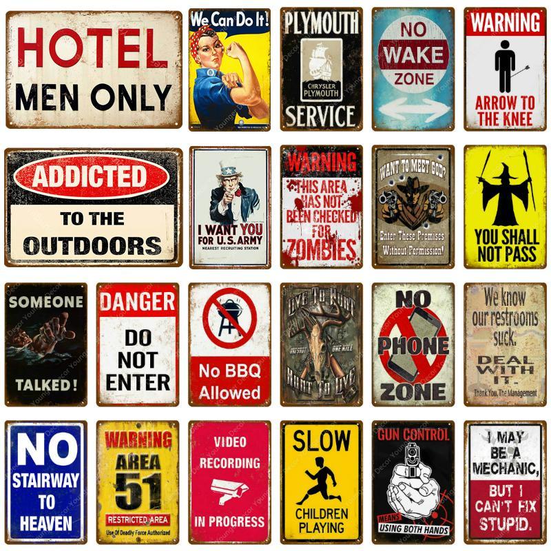2021 Signe de la zone de réveil en métal Signe d'étain Danger N'entrez pas de plaque murale vintage pour PUB Bar Club Home Hotel Decor ART ART ART POSTER FACILLE