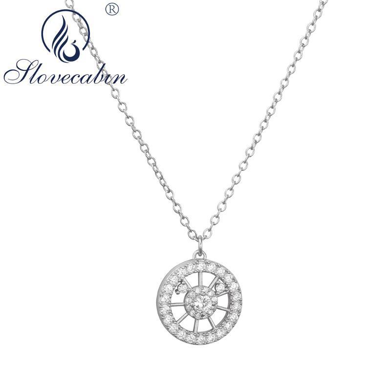 SLOVECABIN ECHTE 100% 925 Sterling Silber Runde Kristall Anhänger Langkette Halskette für Frauen Hochzeit Silber Fine Schmuck machen
