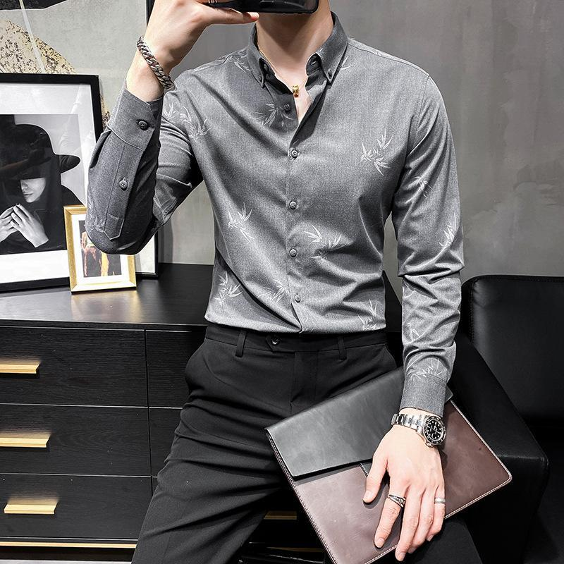 Autumn shirt men's long-sleeved slim-fit business men's shirt casual wild British style mature trend
