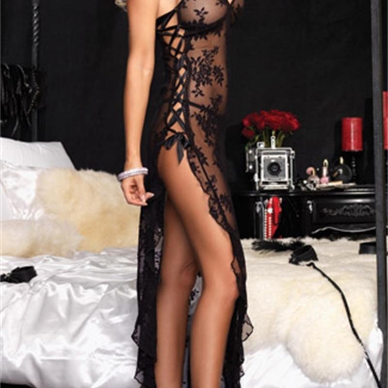 Sıcak Artı Boyutu M L XL XXL XXXL XXXXL 5XL 6XL Kadınlar Seksi Erotik Lingerie Kırmızı Siyah Pijama Gecelik Pijama Uzun Elbise Kıyafeti 201103