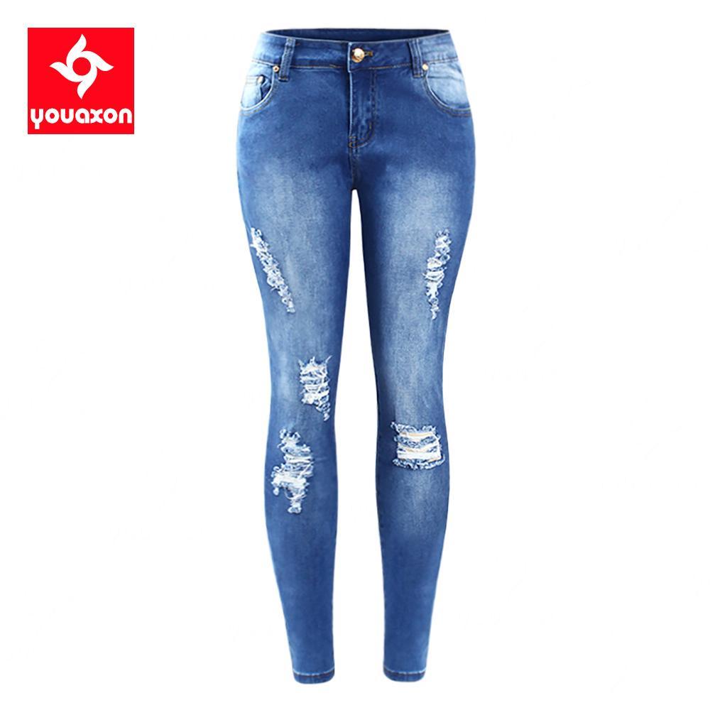 Размер youaxon ЕС разорвал учуждающие джинсы женщин плюс размер растягивающие джинсовые джинсовые джинсы для женщин Джин карандашные штаны 201105