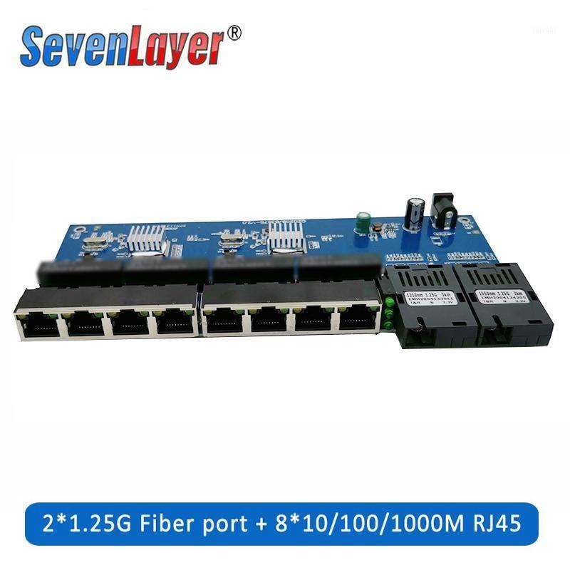 Équipement à fibre optique 10/100/1000m Gigabit Ethernet Switch Convertisseur de support optique PCBA 8 RJ45 UTP et 2 SC PORT PORT PCB 1PCS1