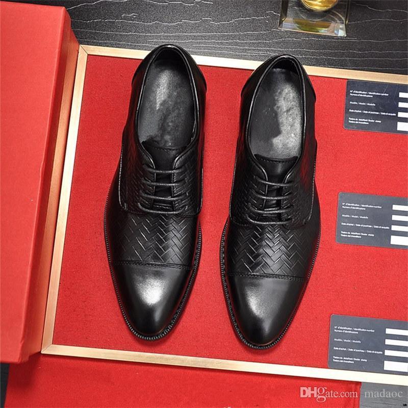 M1 38-45 Boss Suede Cow Boss Mens Scarpe formali Uomo Blu Oxford Dress Scarpe da uomo Black Fashion Lace Up Scarpe Business Man Sapato de Homem 11