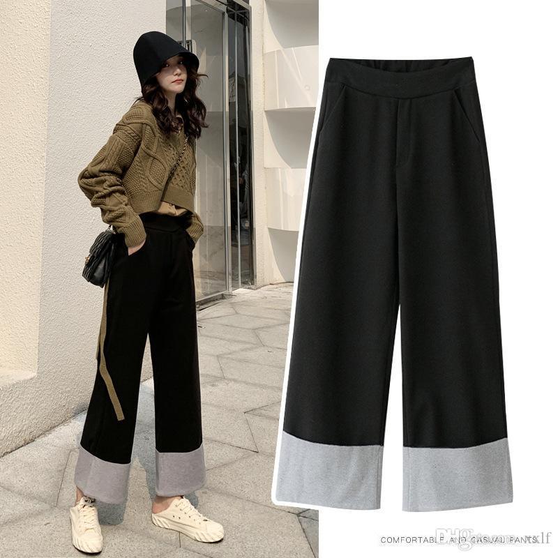2XL espesos pantalones de lana de pierna ancha caída de invierno de invierno altas pantalones sueltos rectos mujeres mantienen calientes pantalones casuales mujeres Mujer