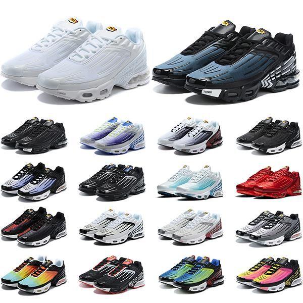 Tn mais 3 iii shoped runned shoes mens trauss chaussures triplo branco preto hyper azul verde og néon mulheres sneakers esportes corredores