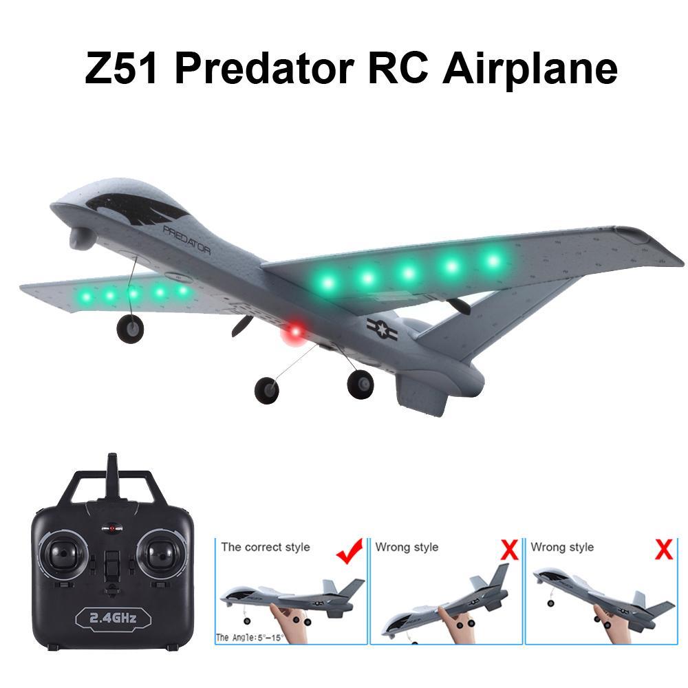 RC Uçak Uçak Z51 20 Dakika Uçuş Zaman Planör 2.4G Uçan Model Ile LED El Atma Wingspan Köpük Düzlem Oyuncaklar Çocuklar için Y200413