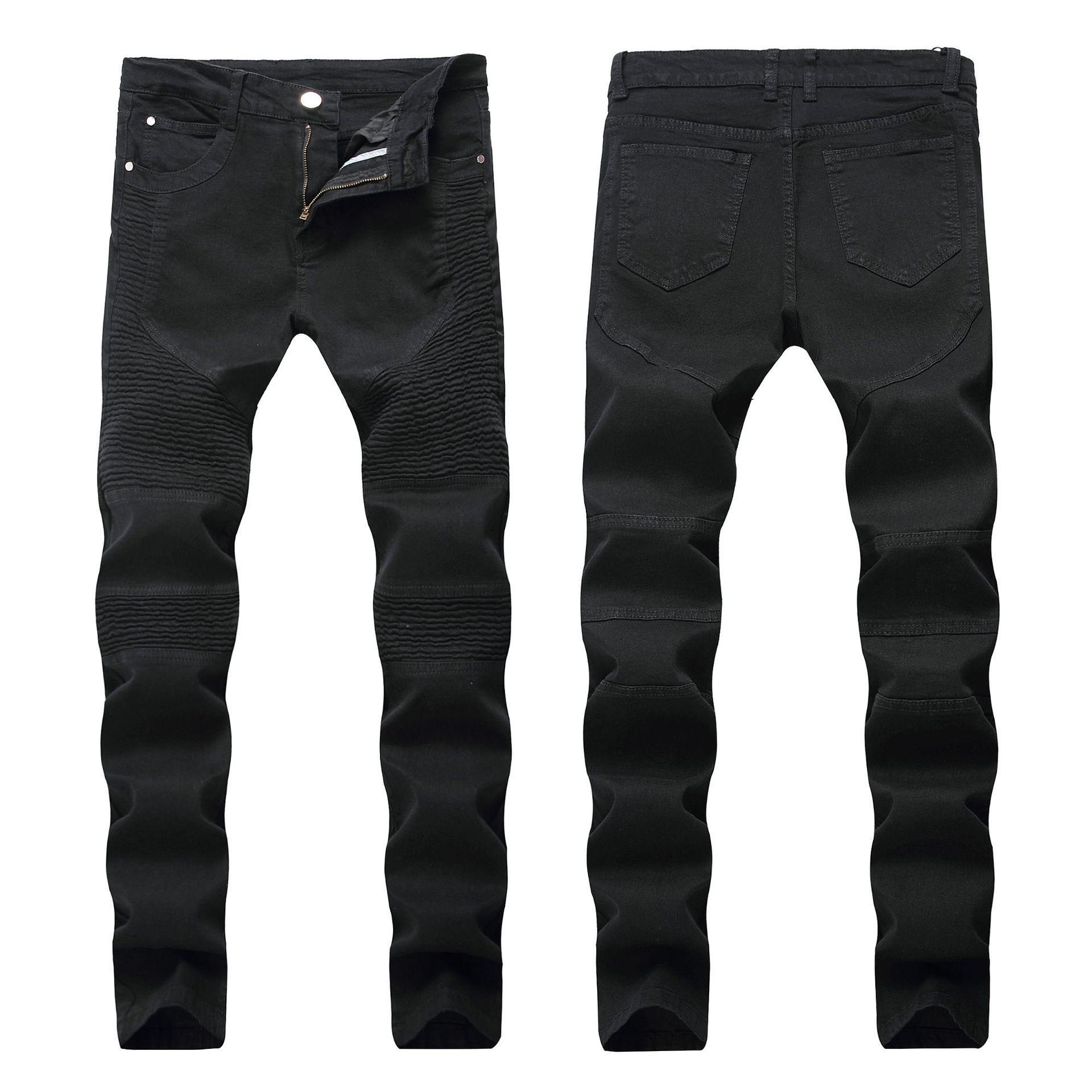 Sıska Erkek Siyah Kot Serin Erkekler Kot Streç Slim Fit Düz Denim Biker Jeans Hip Hop Erkekler Streetwear 1688 #