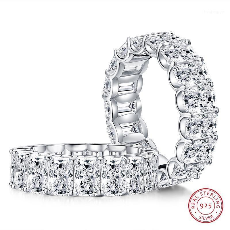 Radiant Cut 4*6mm Lab-created Diamond Ring wedding proposal brand shining fine jewelry 925 sterling silver band1