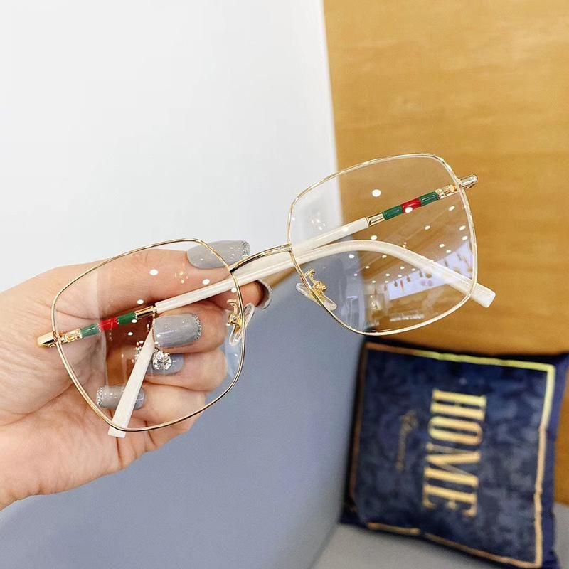 Nuevos gafas cuadradas de lujo, hombres y mujeres, hombres y mujeres, espejo plano anti-azul, espejo plano.