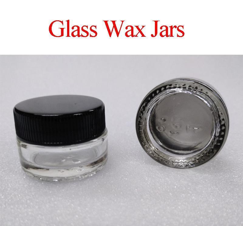 Recipientes de cera de vidro 5ml Comida Grau Clear Redonda Pyrex Vidro frascos Wax Dab vaporizador frascos Erva seca Armazenamento de contêiner E Cigs cigarro
