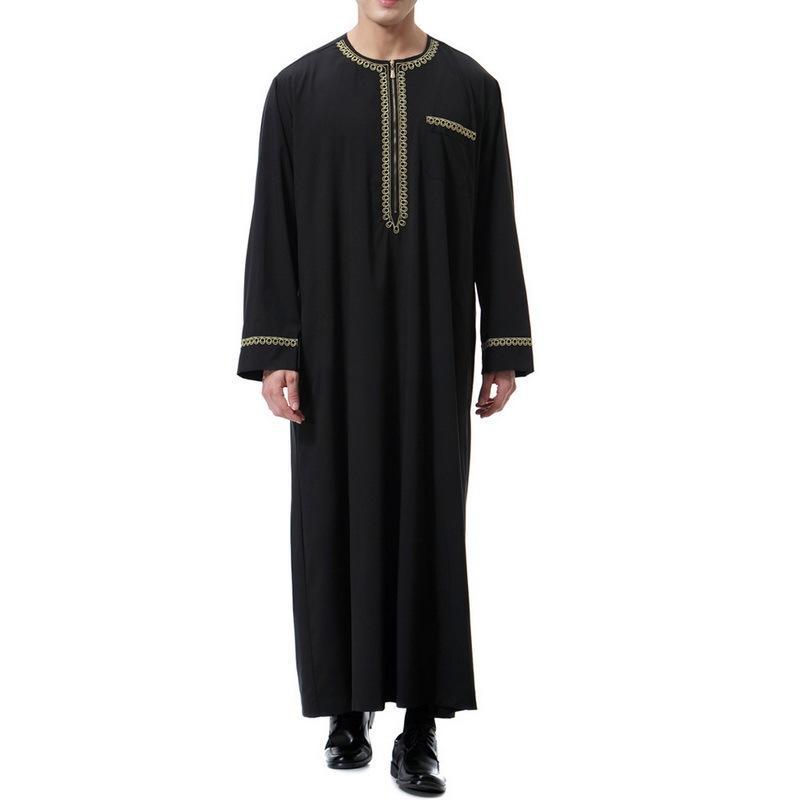 Muslim Musulm Islamman Arabe Kaftan Robes 2019 Nouveau Coton Coton Coton à manches longues imprimée Dubaï Saoudien Arabe Jubba Thobes J1216