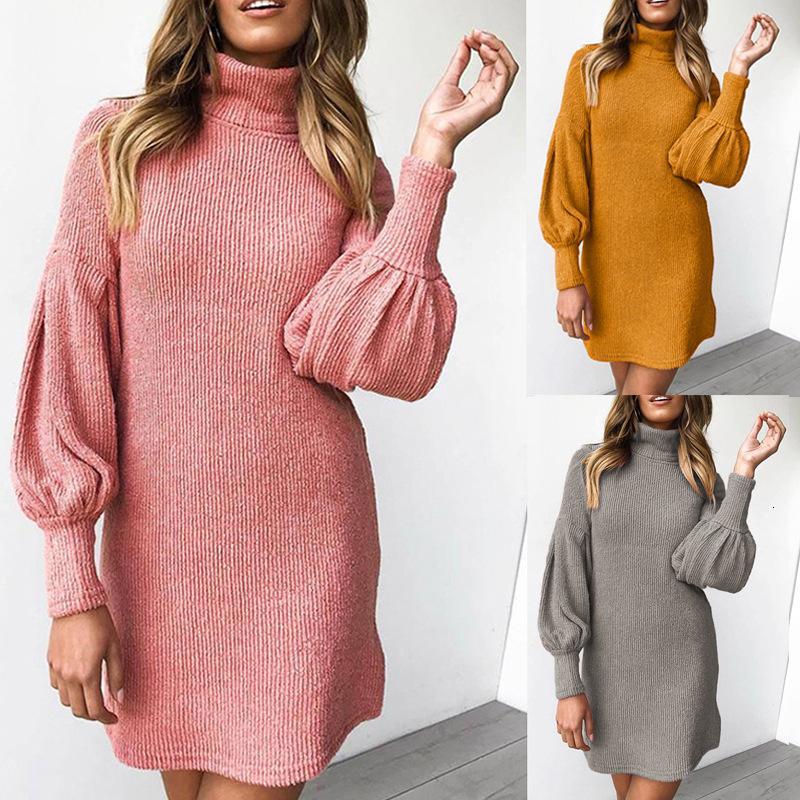 Новый продукт 2021 осенью и зимняя мода нить круглые шеи с длинным рукавом ягодичные платья