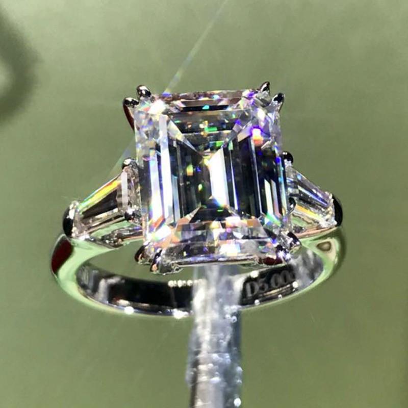 LUXURY SmeralD taglio 4CT Lab Diamond Ring Diamond ANELLO 100% originale 925 Sterling Silver Engagement Band Band anelli per le donne gioielli da sposa Z1118