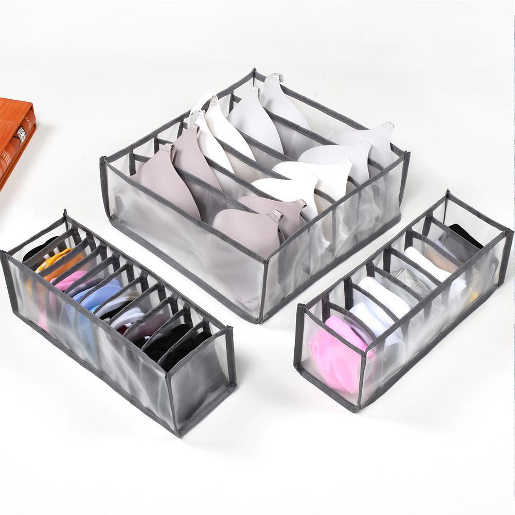 3 stücke Schlafsaal Closet Organizer für Socken nach Hause getrennte Unterwäsche Aufbewahrungsbox 11 Grids BH Organizer Faltbare Schublade Organizer Y1130