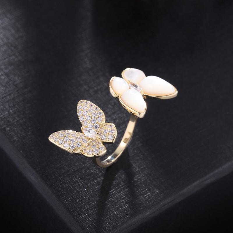 نمط جديد الكورية ماركة فاخرة مايكرو مطعون الزركون فراشة مفتوحة حلقة مجوهرات مزاجه النساء الراقية اللامعة الزركون 18 كيلو الذهب مطلي الدائري