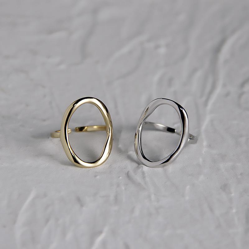Silvology 925 Sterling Sterling Sterling Anneaux ovales Open Openwork Champagne Gold Bagues minimalistes pour femmes Élégant 925 bijoux simples Z1118