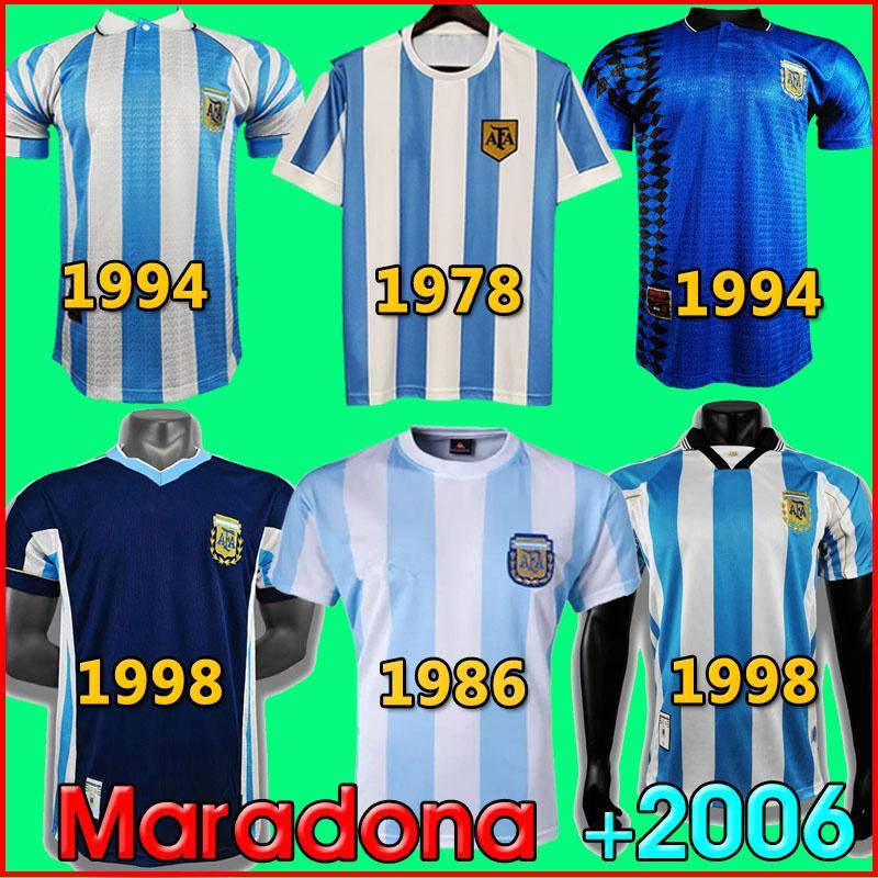 1986 아르헨티나 레트로 축구 유니폼 Maradona 86 빈티지 클래식 1978 레트로 아르헨티나 Maradona 1986 축구 셔츠 Maillot Camisetas de futbo