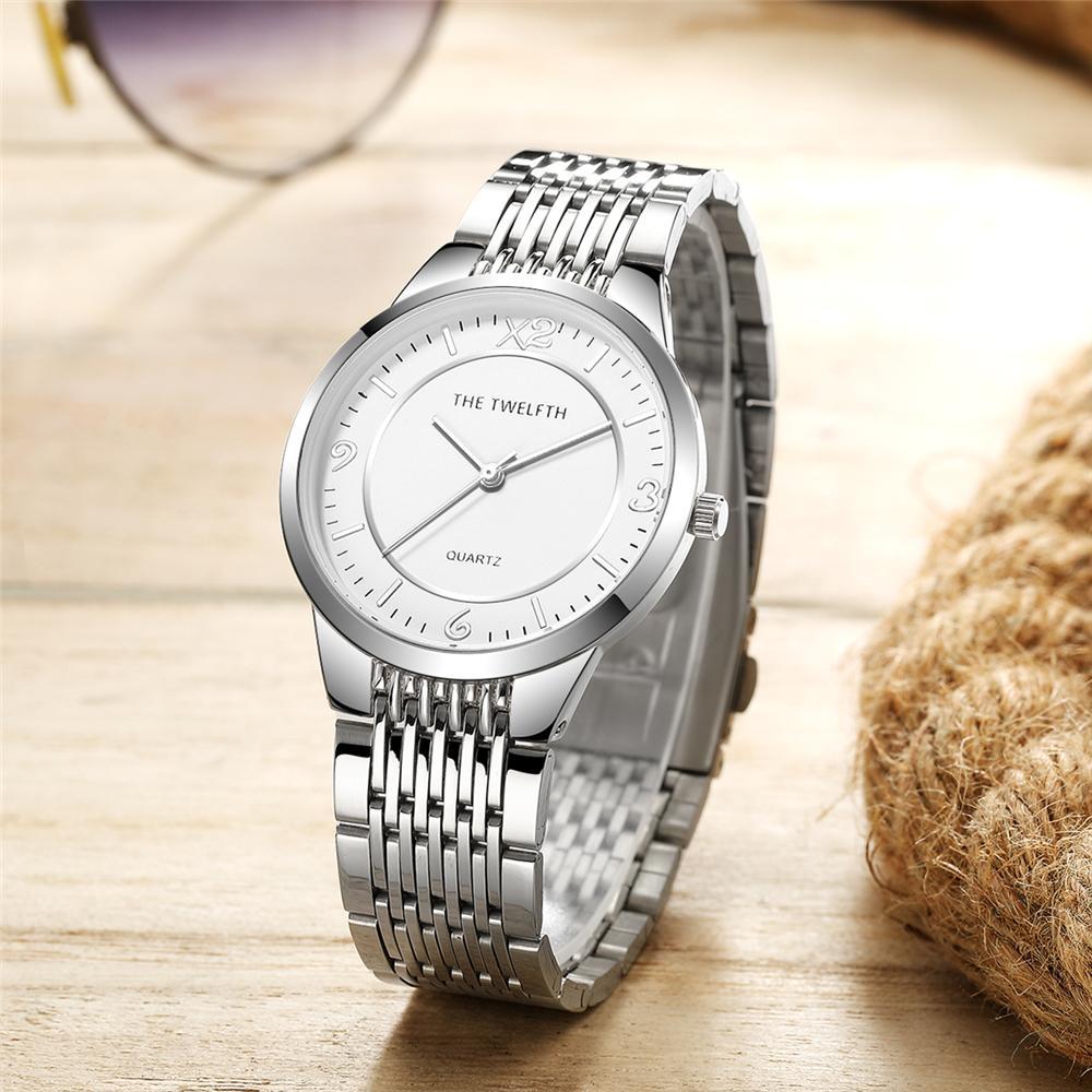 2021 Reloj Unisex Nuevo Silver Acero inoxidable Reloj de cuarzo 38 mm Simple Simple Classic Design Mens Vestido de mujer Reloj de negocios Reloj hembra