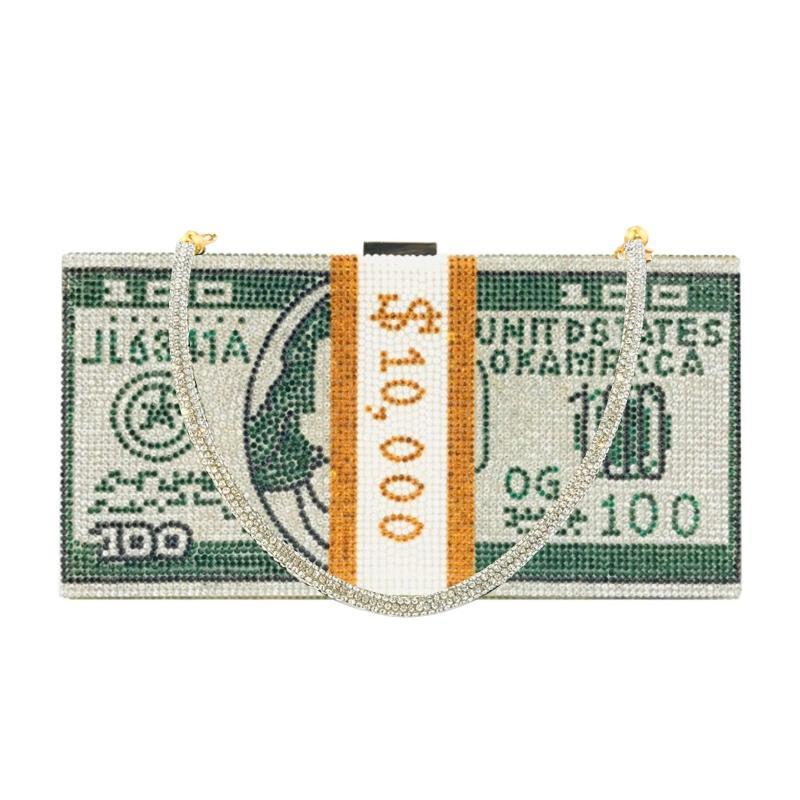 Geld Clutch Strass Handtasche 10000 Dollar Stapel Bargeld Abend Handtaschen
