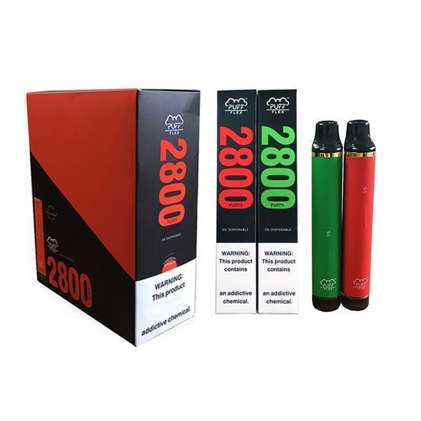 Hot Boffle Flex Dispositivo desechable 2800 Dispositivo de soplo 1500mAh Batería Preculada 10ml Cartucho Vape Pen DHL