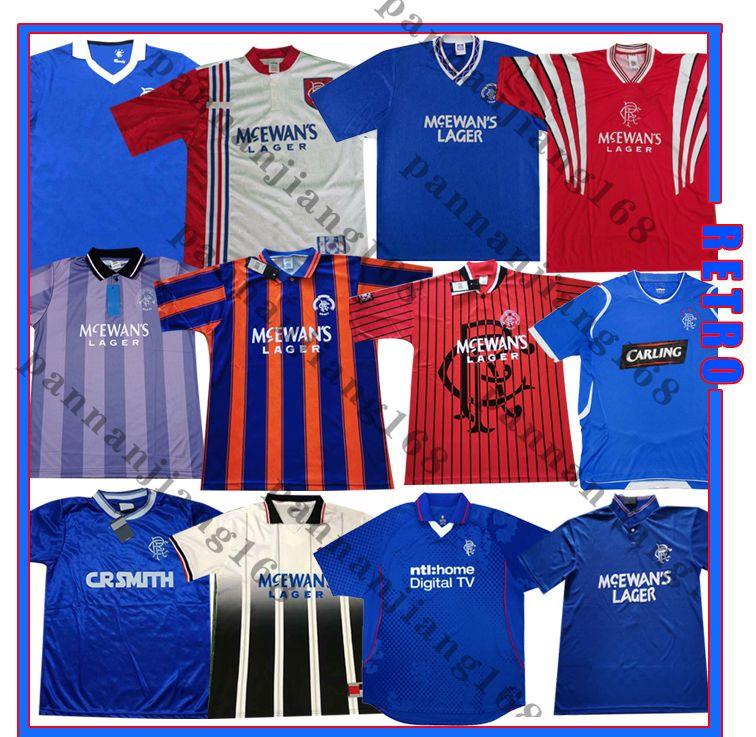 Glasgow Rangers 90 92 94 96 97 99 02 03 07 08 Jerseys de futebol retrô Gascowigne 8 Laudrup 11 azul Home 84/87 Camisa de futebol clássico vintage