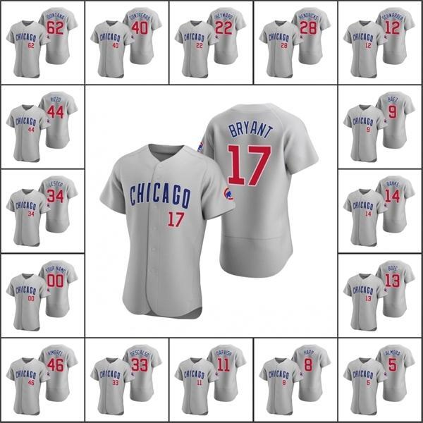 NCAA CHICAGO \ RCUBS MULD # 9 Javier Baez 17 KRIS BRYANT 44 Anthony Rizzo 14 Ernie Banks Custom Women Youth Grey Authenticloe 2020 Road Jersey