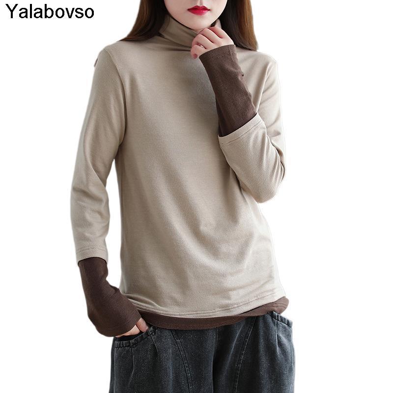 Женские свитеры осень зимний цвет контрастные футболки с высоким воротником с длинным рукавом футболка винтаж ретро шоу тонкие тройники