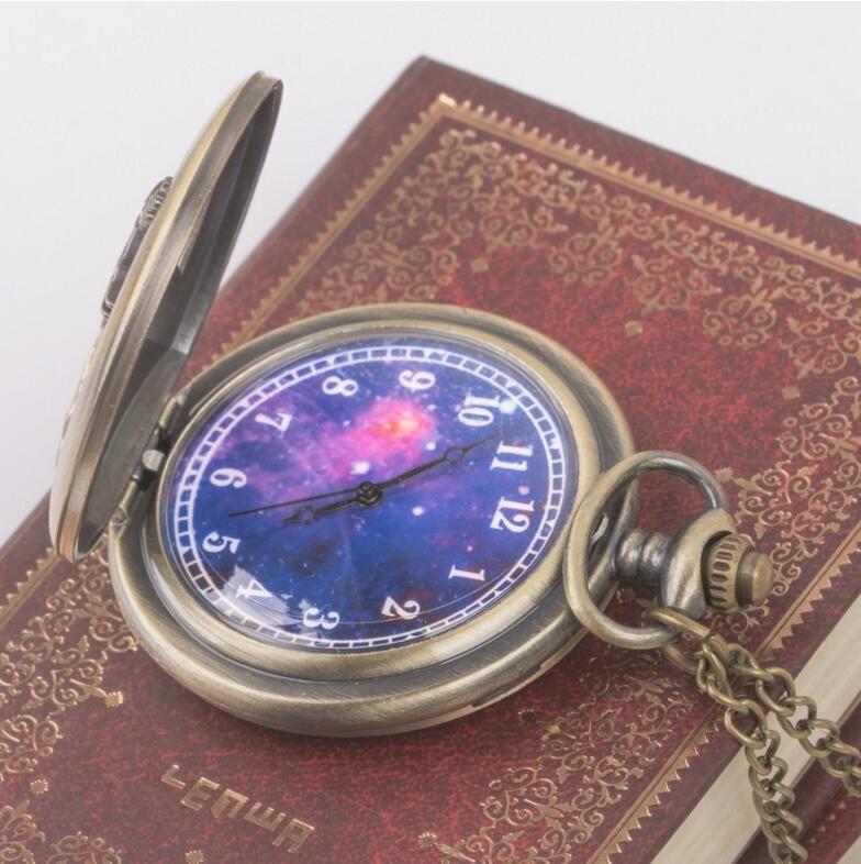 High-end2020Wholesale 50pcs/lot Quartz watches Chain Bronze Retro hollowed out little prince's big pocket watch pocket watches PW009