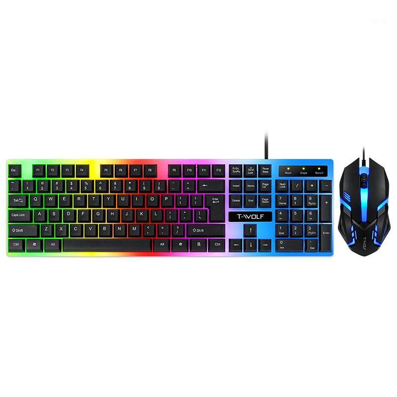 RGB gaming Luminous keyboard mouse set Computer office game wired key mouse kit1