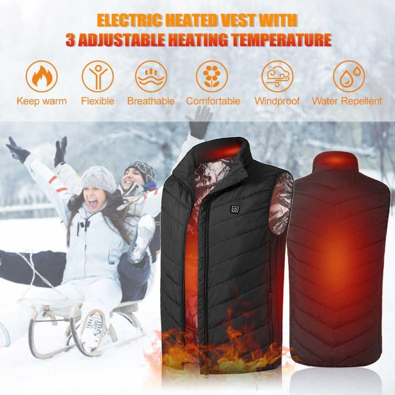 Smart aquecimento colete usb infravermelho elétrico elétrico térmico inverno térmico casaco quente para mulheres homens ao ar livre manter-se cordial quente