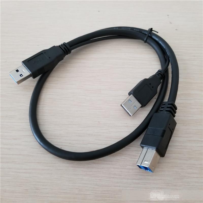 10pcs / lot USB 3.0 Tapez un homme à USB B mâle USB 2.0 A POWER Fournir des données Câble noir 60cm