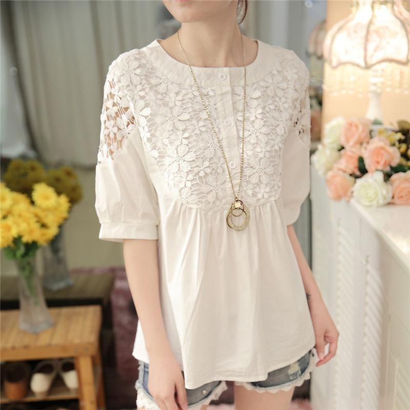 2019 verão mulheres top manga longa elegante branco laço blusa femme oco out escritório camisa transparente algodão blusas mujer1